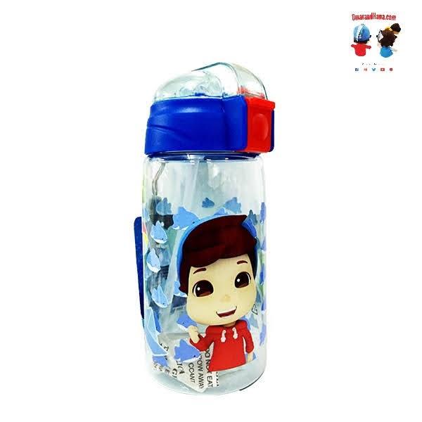 Omar & Hana YouTube Stars Blue Water Bottle 520ML With Flip Lid and Wrist Strap
