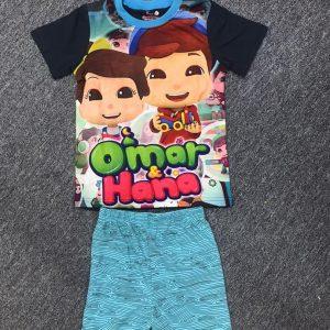 Blue Omar and Hana Pyjamas T-shirt and Shorts Set