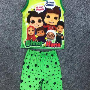 Green Omar and Hana Pyjamas T-shirt and Shorts Set