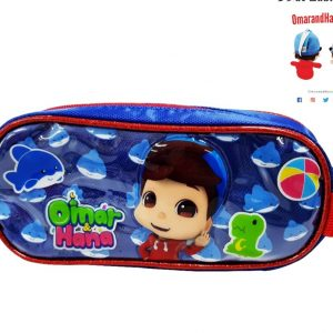 Omar & Hana YouTube Stars Blue Fabric Pencil Case With Unique Logo Tag on Zip