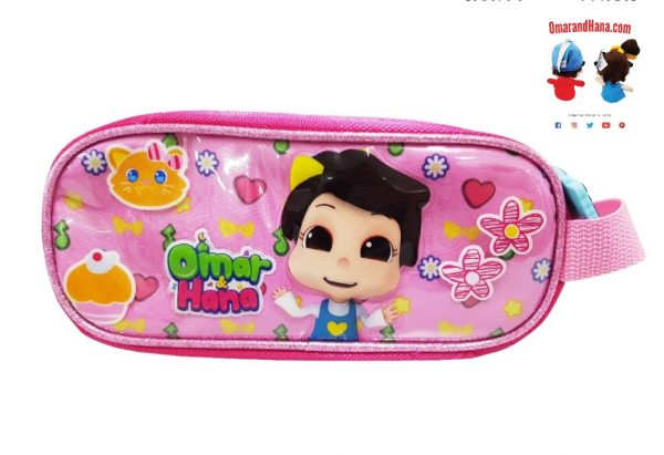 Omar & Hana YouTube Stars Pink Fabric Pencil Bag With Unique Logo on Zip
